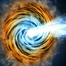 Blazar, aktivní galaktické jádro, které míří skoro přesně na nás. Kredit: M. Weiss / CfA.