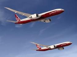 Boeingy 777-8 a 777-9 vpočítačové grafice. Kredit: Boeing.