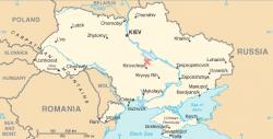 Lokalizace kráteru Boltyš v Kirovohradské oblasti na Ukrajině. Jde o jeden ze zhruba pěti známých kráterů, které by mohly časově přímo souviset s událostí K-Pg. Potvrzeny jsou však pouze dva astroblémy, mexický Chicxulub a právě Boltyš. Kredit: Wikipedie (volné dílo)