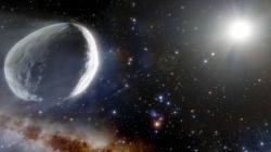 Umělecká vize komety Bernardinelli-Bernstein. Kredit: NOIRLab/NSF/AURA/J. da Silva (Spaceengine).