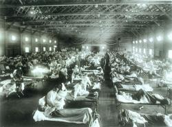 Američtí vojáci nemocní španělskou chřipkou na nemocničním oddělení vCamp Funston(Kansas).