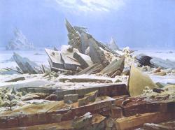 """""""Moře ledu"""" od Caspara Davida Friedricha (1823–1824).  I po téměř dvou stech letech je tu arktického ledu tolik, že hovořit o pravidelných lodních trasách je stále jen utopie. Příroda je tu zrádná a stačí změna směru větru a v krátké době plovoucí led vytvoří neprostupnou hradbu drtící lodní trupy."""