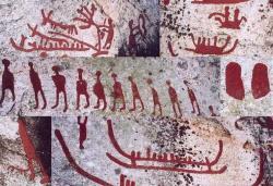 Starověké skalní kresby (petroglyfy), včetně jednoho, který znázorňuje zemědělce využívajícího skot.Ke zvýšení genetické diverzity  žen a  jejímu poklesu u mužů, došlo v různých částech světa právě v době, kdy se z lovců a sběraček stali usedlí zemědělci. Foto:Olof Ekström, 2003, Wikimedia Commons
