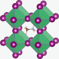 Struktura podobného perovskitu (CH3NH3PbI3). Kredit: Christopher Eames et al. / Wikimedia Commons.