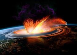 Představa o drastickém účinku dopadu asteroidu Chicxulub před 66 miliony let. Dosud nevíme, odkud přesně pocházel, ani jak velkou cestu k naší planetě musel urazit. Jisté je, že své putování zakončil jižně od pobřeží tehdejší Laramidie. Kredit:John E. Kaufmann