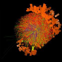 Jedna zrekordních srážek těžkých jader olova na detektoru ALICE. Kredit: ALICE / CERN.