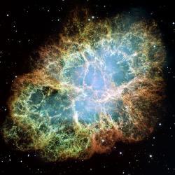 Krabí mlhovina. Přízrak nedávné supernovy. Kredit: NASA, ESA, J. Hester and A. Loll (Arizona State University).