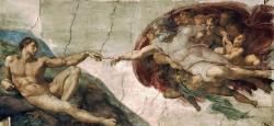 """I řekl Bůh: """"Učiňme člověka, aby byl naším obrazem podle naší podoby. Ať lidé panují nad mořskými rybami a nad nebeským ptactvem, nad zvířaty a nad celou zemí i nad každým plazem plazícím se po zemi.""""    Kredit: Michelangelo."""