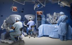 Celkový pohľad na pracovisko robotickej chirurgie. (Kredit:  Intuitive Surgical)