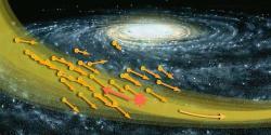 Hurikán temné hmoty hvězdného proudu S1. Kredit: C. O'Hare; NASA/Jon Lomberg.
