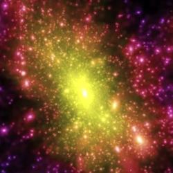 Simulace temné hmoty uvnitř galaxií. Kredit: Springel et al., Virgo Consortium, MPI Astrophysics.