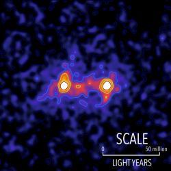 Kompozitní snímek pavučiny temné hmoty. Kredit: S. Epps & M. Hudson / University of Waterloo.