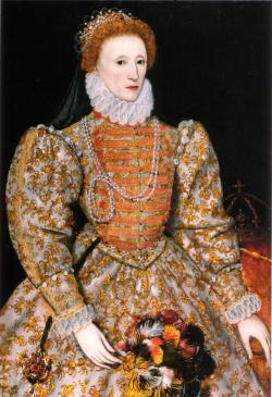 Alžběta I.královnaAnglieaIrskaod17. listopadu1558 do března1603.  Byla dcerouJindřicha VIII.a jeho druhé ženyAnny Boleynovébyla pátou a poslední panovnicí z roduTudorovců. Krefdit: National Portrait Gallery, London, volné dílo.