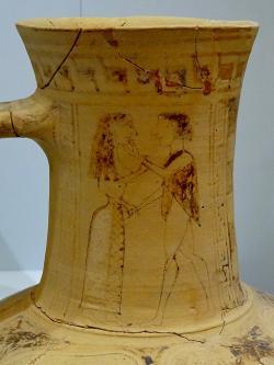 Jedno z nejstarších řeckých zobrazení milenců, prý Thésea a Ariadny, 675 až 640 před n. l. Archeologické muzeum v Irakliu (Herakleion na Krétě). Kredit: Olaf Tausch, Wikimedia Commons .