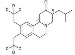 Struktura prvního schváleného léčiva deutetrabenazinu s šesti atomy deuteria. Kredit: Vytvořeno  v BKChem.