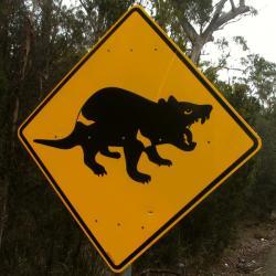 Budou je�t� na Tasm�nii k�vid�n� takov� zna�ky? Kredit: Peter Shanks / Wikimedia Commons.