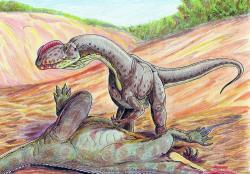 Je otázkou, jak silný zápach vydávala rozevřená ústa hodujících teropodních predátorů, jako byl zobrazený Sinosaurus triassicus z rané jury jižní Číny. Na ilustraci si tento až šest metrů dlouhý dravec pochutnává na zabitém sauropodomorfovi druhu Yunnanosaurus huangi. Scéna se odehrává v době před 200 miliony let na území dnešní čínské provincie Jün-nan. Kredit: ДиБгд; Wikipedie (volné dílo)