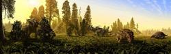 Zobrazení ekosystému souvrství Dinosaur Park, jedné z nejbohatších geologických formací světa. V současnosti je odtud známo přinejmenším 40 druhů neptačích druhohorních dinosaurů, žijících před 76 miliony let. Kredit: Julius Csotonyi, PLoS ONE, Wikipedie (CC BY 2.5)