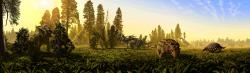 Ekosystém geologického souvrství Dinosaur Park na území kanadské provincie Alberty v době před 76 miliony let. Dinosauří biodiverzita zde 10 milionů let před koncem křídy dosáhla svého zdánlivého vrcholu, z velké části je to ale způsobeno výběrovostí, tedy lepším dochováním fosilií v sedimentech tohoto souvrství. Kredit: Julius Csotonyi; Wikipedie (CC BY 2.5)