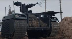 THeMIS ve verzi Combat Support, s dálkově ovládanou zbraňovou stanicí. Kredit: Milrem Robotics.