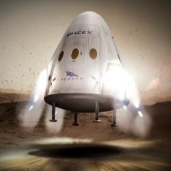 Už brzy? Rudý drak přistává na Marsu. Kredit: SpaceX.