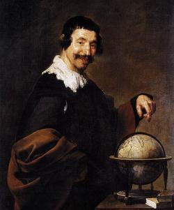 Démokritos jako smějící se geograf. Kredit: Diego Velázquez via Dcoetzee, Wikimedia Commons.