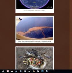 """Druhý z obrázků u něhož je v hoaxu popiska: """"Radioaktivní trosky z Fukušimy připlouvají k severoamerickému západnímu pobřeží."""" Je ve skutečnosti také něco zcela jiného. O co ve skutečnosti jde je správně uvedeno například zde. http://chasing-butterfly.blogspot.cz/2014/11/pacific-trash-vortex.html"""