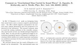 Tým Dmitrije Gulevicha reaguje na Espositův článek komentářem, že celková gravitační hmotnost se nemění. A pokud zvuk zápornou hmotnost má, musí být vykompenzována hmotností prostředí. Pramen: Physical Review Letters (ZDE)