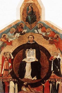 Apoteóza svatého Tomáše Akvinského, detail. Lippo Memmi, 1340, Santa Caterina vPise. Kredit: Web Gallery of Art via Wikimedia Commons.
