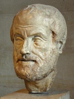 Aristotelés (384-322 před n. l). Římská kopie Lysippovy sochy z4. století před n. l. Kredit: Eric Gaba alias Sting, Wikimedia Commons