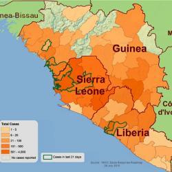 Počet nakažených ebolou vZápadní Africe. Kredit: CDC.