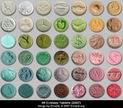 Tablety prodávané jako extáze, rok 2007. Kredit: Erowid.org