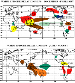 Důsledky El Niño. Kredit: NOAA / Wikimedia Commons.