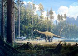 Rekonstrukce životního prostředí druhu Europasaurus holgeri. Tento malý sauropodní dinosaurus byl blízce příbuzný mnohem větším rodům Brachiosaurus nebo Giraffatitan, žijícím zhruba ve stejné době na území Severní Ameriky a Afriky. Představoval pravděpodobně trpasličí ostrovní formu sauropoda, zmenšenou po generacích postupnou adaptací na omezené zdroje potravy a menší životní prostor. Před 154 miliony let obývala populace těchto dlouhokrkých trpaslíků oblast dnešního severozápadního Německa. Kredit: Gerhard Boeggemann; Wikipedie (CC BY-SA 2.5)