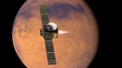 Sonda TGO při brzdícím zážehu. Zdroj: http://spaceflight101.com