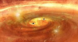 Objevíme temnou hmotu na orbitě binárních černých děr? Kredit: NAOJ.