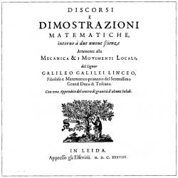 Titulní list Galileiho posledního díla, Matematické rozpravy… Kredit: Mahahahaneapneap, Wikimedia Commons.