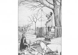 Rok 1733: Stephan Hales meria tlak v tepne ležiaceho koňa. (Kredit: HIT). https://myhitapp.com/blog/blood-pressure-history/