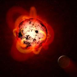 Supererupce červeného trpaslíka smaží exoplanetu. Kredit: NASA/ESA/G. Bacon (STScI).