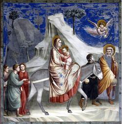 Útěk do EgyptaodGiotta di Bondone(1304–06,Kaple Scrovegni,Padova) Kredit: José Luiz Bernardes Ribeiro CC BY-SA 4.0