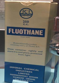Halotan(téžhalothan, s obchodním názvem Fluothane), je kapalina, příjemně vonící derivát uhlovodíku používaný jako anestetikum. Chemicky jde o 2-bromo-2-chloro-1,1,1-trifluoroetan. I když stále patří mezi základní anestetika v seznamuWHO, ve vyspělých zemích ho vytlačily novější přípravky, které by měly být k našim jaterním buňkám méně toxické.