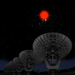 Zdroj FRB záblesků konečně objeven. Kredit: Bill Saxton, NRAO/AUI/NSF; Hubble Legacy Archive, ESA, NASA.