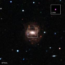 Galaxie RGG 118 snejmenší supermasivní černou dírou. Kredit: NASA / CXC / Univ of Michigan / V.F.Baldassare, et al; & SDSS.