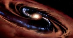 Galaxie CQ4479 skvasarem uprostřed. Hnědě kosmický plyn, který zůstává chladný. Kredit: NASA/ Daniel Rutter.