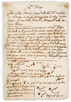 Galileiho dopis benátskému dóžeti: Popis dalekohledu a jeho vojenského využití, dole nákresy pozorování Jupiterových měsíců, 1610. Kredit: University of Michigan Library via Wikimedia Commons