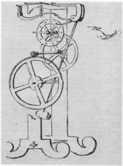 Galileiho hodinový krok pro použití kyvadla z roku 1641. Vincenzo Viviani, 1659. Opere di Galileo, 19:656. Kredit: Univ. of Toronto photographic services via Wikimedia Commons.