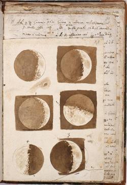Galileo Galilei: Měsíc v různých fázích, 1609. Biblioteca Nazionale Centrale, Firenze. Kredit: Wellcome Library no. 46269i via Wikimedia Commons.