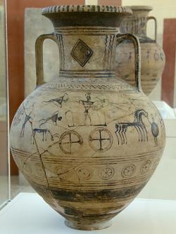 Geometrická amfora se zobrazením válečné scény, 8. století před n. l. Archeologické muzeum na Paru. Kredit: Zde, Wikimedia Commons. Licence CC 4.0.