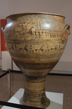 Dipylský kratér, pozdně geometrický. Hirschfeldův malíř, 750 až 735 před n. l. Kredit: Zde, Wikimedia Commons. Licence CC 4.0.