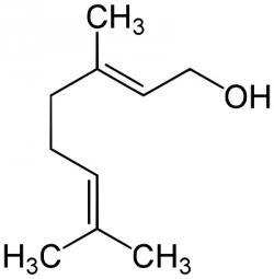 Geraniolterpenovýalkohol (monoterpenoid). Systematický název:  (trans)-3,7-dimethyl-2,6-oktadien-1-ol)
